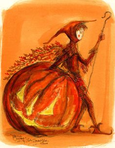 """An elf and a Jack-o-lantern lean on each other, patiently """"Waiting for Halloween"""" by John Randall"""