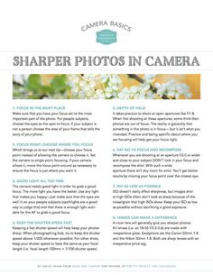 Want more cheat sheets? You can click here to download all 7 photography cheat sheets.  Enjoy and thanks for being here! 1. FOCUS IN THE RIGHT PLACE Make sure t