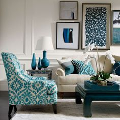 Blue Lagoon Living Room Ethan Allen - I love this color palatte and especially the art work.
