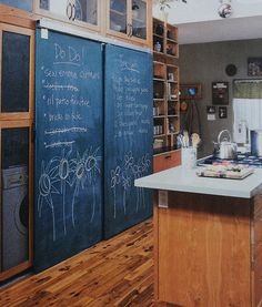 chalkboard sliding door in kitchen // design to reveal pantry - yes! I think this photo has a washer & drier behind the doors. Kitchen Pantry Doors, Sliding Pantry Doors, Sliding Door Design, Closet Doors, Sliding Wardrobe, Wardrobe Doors, Interior Barn Doors, Interior And Exterior, Kitchen Interior