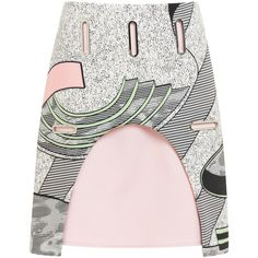 Opening Ceremony Perspective Pools Neoprene Cut-Out Skirt In Blush... (3,215 HKD) ❤ liked on Polyvore