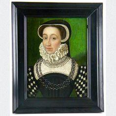 Ölgemälde auf Holz in aparter und kräftiger Farbgestaltung. Ein Portrait der Prinzessin von Urbino und späteren Königin von Frankreich Caterine de' Medici. Gemalt von einem unbekannten Meister der Französischen Schule, 16. Jahrhundert.