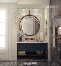 Modern Bathroom on Behance - Badezimmer Modern Bathroom Mirrors, Gold Bathroom, Bad Inspiration, Bathroom Inspiration, Luxury Toilet, Toilette Design, Bathroom Toilets, Washroom, Dream Bathrooms