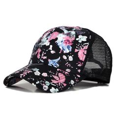 c4d41297fcef7 2017 New Fashion Men Women Summer Hats Korea Style Floral Flowers Printed  Mesh Baseball Caps Lovers Casual Trucker Cap