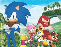 "A new picture of Sonic and the gang, including the new character Sticks the Badger, in ""Sonic Boom""."