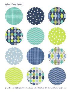 2 inch circles digital collage sheet aqua navy blue lime by huetoo