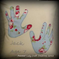 Gorgeous gift idea, personalised hands cushion.