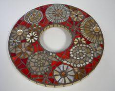 Púrpura eléctrico lima redonda espejo mosaico por TheMosartStudio