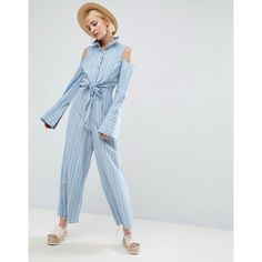 ASOS Shirt Jumpsuit with Tie Front Detail and Cold Shoulder in Stripe (1,040 EGP) ❤ liked on Polyvore featuring jumpsuits, blue, prom jumpsuit, cotton jumpsuit, tall jumpsuit, wide leg jumpsuits and blue jump suit