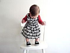 Bow Dress  Flannel Black And White Jumper by MissMollyJuneDesigns