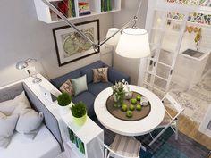 Színes romantikus mikro lakás lakberendezés