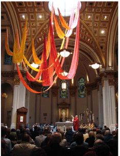 pentecost banners or maybe use red and orange balloons in diningroom