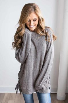 Shop our Lace Up Detail Sweater in Grey Multi. Pair with skinny jeans and booties for a chic fall look. Always free shipping on all US orders.