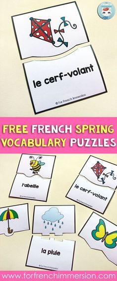 French spring vocabulary puzzles FREE: self-correcting puzzles and answer-recording sheet for accountability. Get your kiddos practicing spring vocabulary in French   en français pour le printemps