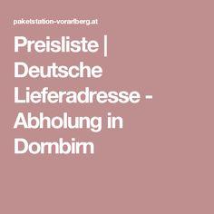 Preisliste | Deutsche Lieferadresse - Abholung in Dornbirn Price List, Cow, German