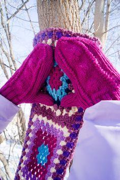 Knitting  mittens, granny square crocheted scarf by Olga Anokhina