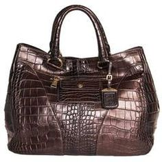 For Sale on - Burgundy distressed crocodile large bag with brass details. The leather is beautifully applied with round cuts on front and back corners, which make the Cheap Handbags, Handbags On Sale, Purses And Handbags, Leather Pouch, Leather Purses, Leather Shoulder Bag, Leather Luggage, Shoulder Bags, Oversized Handbags