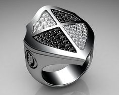 Unique Mens Ring Cross Shield Ring Sterling Silver with Black and White Diamonds
