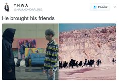 """Hahaha my friend was like """"looks more like black coat brought his friends and now they r hunting Bts coz of Suga setting him on fire (infires man!)"""" xD"""