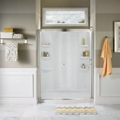 American Standard Ovation 60 in. x 72 in. Framed Bypass Shower Door in Satin Nickel and Clear - The Home Depot Frameless Sliding Shower Doors, Sliding Panels, Sliding Door, Deep Shelves, Shower Base, Shower Kits, American Standard, Bath Remodel, Glass Design