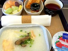 My introduction to congee on Cathay Pacific