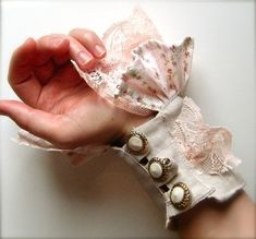 Pink and Putty Textile Wrist Cuff with Lace and Vintage Buttons by barbra