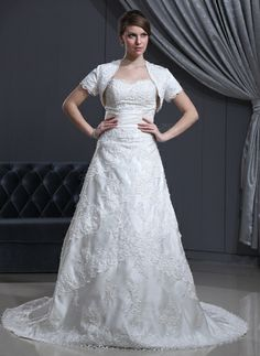 A-Line/Princess Sweetheart Chapel Train Satin Lace Wedding Dress With Beading (002000310) http://www.dressdepot.com/A-Line-Princess-Sweetheart-Chapel-Train-Satin-Lace-Wedding-Dress-With-Beading-002000310-g310 Wedding Dress Wedding Dresses #WeddingDress #WeddingDresses