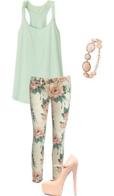 floral pants + mint top