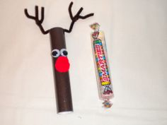 Reindeer from large smartie tube. Seen on Jean's Crafty Corner