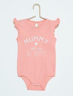 Body con estampado de fantasía y mangas con volante                                                                 rosa Bebé niña   - Kiabi
