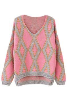 Sweet High-Low Diamond Pattern Sweater - OASAP.com