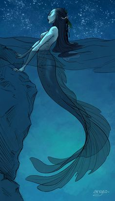 Mermaid of the Sea: Original Art Print - Digital Illustration / Mermaid / Character Design / Angeo / Drawing / Mermaid / Fantasy Meer Illustration, Illustration Design Graphique, Digital Illustration, Mermaid Illustration, Fantasy Illustration, Siren Mermaid, Mermaid Art, Dark Mermaid, Tattoo Mermaid