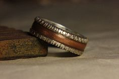 Rustic men's wedding engagement ring of sterling silver and copper. Mans engagement ring. Mans wedding ring. on Etsy, $180.00