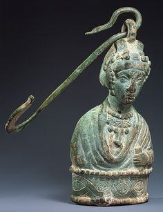 Steelyard Weight with a Bust of a Byzantine Princess, 400–450  Early Byzantine (Eastern Roman Empire), Copper alloy, lead