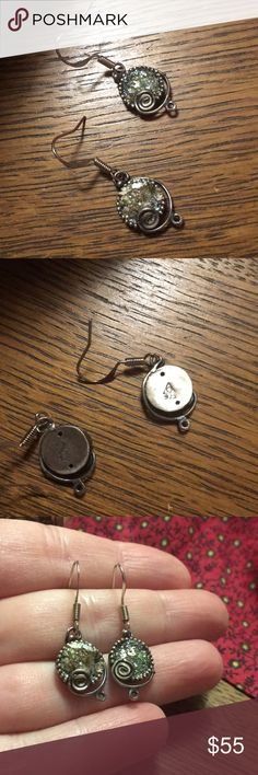 """Vintage Roman Glass Earrings Art + History! Artisan made sterling silver earrings that are both hallmarked for sterling silver and have the artist's mark in the back. Made with genuine, antiquated Roman glass! Drop is approximately 1.25"""". Jewelry Earrings"""