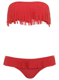 Red fringing bikini
