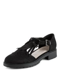 Teens Black Fringed Chunky Shoes  | New Look £18