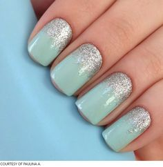 green mint nails, gold glitter instead of silver.... for the brides maids