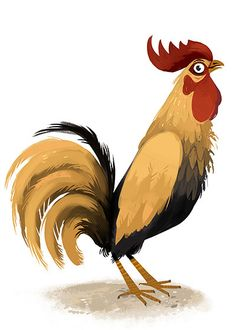 on Behance Love this whole series! Nature Animals, Farm Animals, Animals And Pets, Cute Animals, Cartoon Rooster, Cartoon Birds, Rooster Painting, Rooster Art, Red Rooster