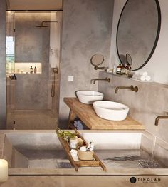 Un mini loft en tons gris - PLANETE DECO a homes worldYou can find Bathroom interior and more on our website.Un mini loft en tons gris - PLANETE DECO a homes world Contemporary Small Bathrooms, Bathroom Design Small, Bathroom Interior Design, Contemporary Furniture, Modern Bathroom, Contemporary Apartment, Industrial Bathroom, Rustic Bathrooms, Balinese Bathroom