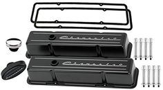 NEW BILLET SPECIALTIES SCRIPT BLACK ALUMINUM SHORT VALVE COVERS COMPATIBLE WITH SMALL BLOCK CHEVY