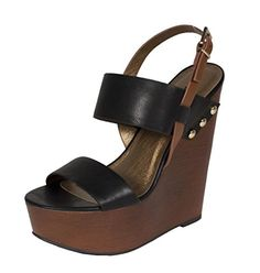 Lustacious Womens Slingback Wide Ankle Strap Faux Wooden Platform Wedge Sandal black leatherette 9 M US *** See this great product.