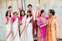 bridesmaids in cream and fuschia sari | courtesy Lin and Jirsa wedding photography | www.shaadibelles.com