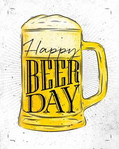 dessin biere: Poster beer glass lettering save water drink beer drawing in vintage style with coal on yellow paper background