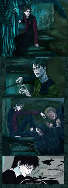 The Cup turns out to be a portkey that transports them to an old graveyard in Little Hangleton. -Where is Harry? ---- Harry's mind controlled by playfulness of Vordemort. ---- only joking