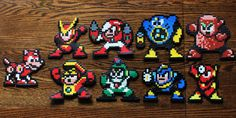 Megaman / Rockman sprites set from the second NES game, made from various beads. Some sprites may vary slightly (shape or colour), because every