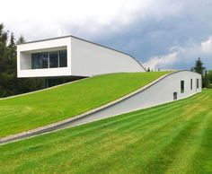 Stunning green-roofed Autofamily House features a drive-thru art gallery in Poland   Inhabitat - Sustainable Design Innovation, Eco Architecture, Green Building