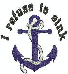 Digital Embroidery Design I refuse to by EmbroideryDesignsBRN I Refuse To Sink, Embroidery Designs, Nautical, Digital, Handmade Gifts, Etsy, Vintage, Art, Navy Marine