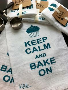 Keep Calm and Bake On Flour Sack Tea Towel Retro Cotton Dish Cloth Kitsch Cupcake Teal. $8.00, via Etsy.