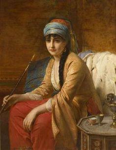 Turkish woman chibouk  -  Henri-Guillaume Schlesinger (1814-1893)